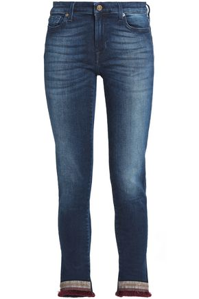7 FOR ALL MANKIND Fringe-trimmed embroidered mid-rise skinny jeans