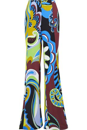 EMILIO PUCCI Printed stretch-crepe flared pants