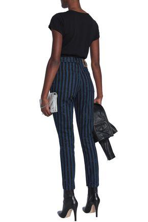 MARC JACOBS Striped high-rise slim-leg jeans
