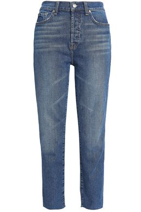 7 FOR ALL MANKIND Edie cropped two-tone high-rise straight-leg jeans