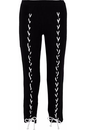LNA Brushed Piper lace-up cropped stretch-Tencel track pants
