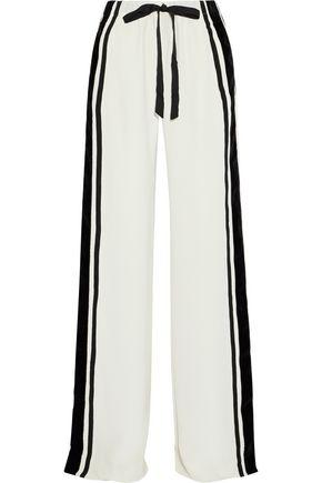 NAEEM KHAN Velvet and grosgrain-trimmed silk wide-leg pants
