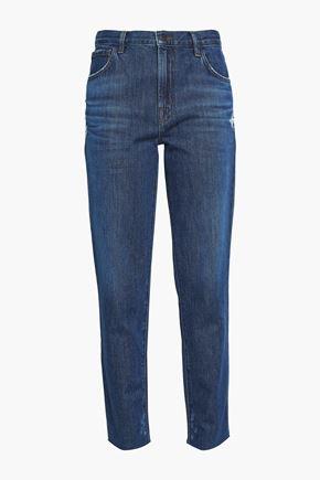 J BRAND Doubletake Johnny distressed mid-rise boyfriend jeans