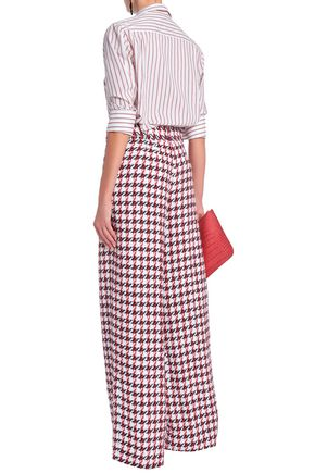 OSCAR DE LA RENTA Cotton-blend tweed wide-leg pants