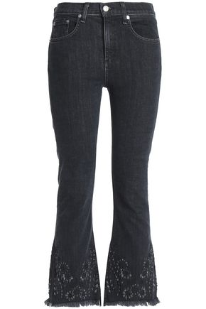 RAG & BONE Distressed embroidered high-rise kick-flare jeans