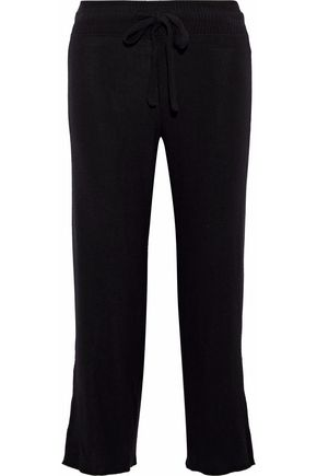 LNA Brushed Aria cropped cutout stretch-Tencel straight-leg pants