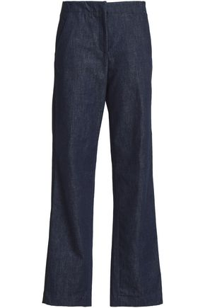 RAG & BONE Crepe-trimmed denim wide-leg pants