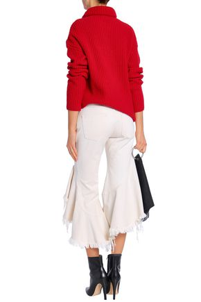 MARQUES' ALMEIDA Ruffled frayed low-rise kick-flare jeans