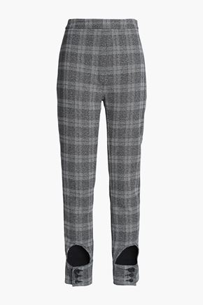 ELLERY Cutout checked jacquard slim-leg pants