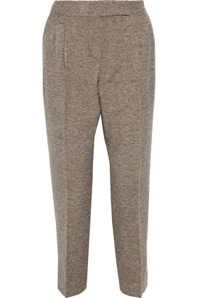 MAX MARA Ginosa marled wool-blend twill tapered pants
