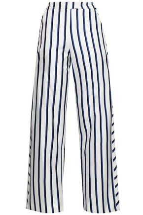 NICHOLAS Striped silk-twill wide-leg pants