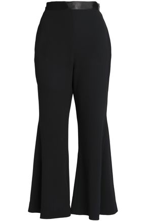 NICHOLAS Satin-trimmed crepe flared pants