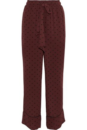GANNI Carlton polka-dot georgette wide-leg pants