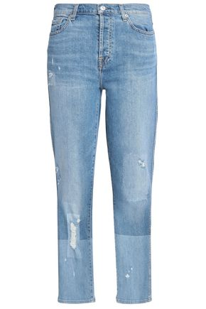 7 FOR ALL MANKIND Edie distressed cropped mid-rise slim-leg jeans