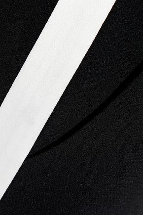 CINQ À SEPT Cropped striped crepe slim-leg pants