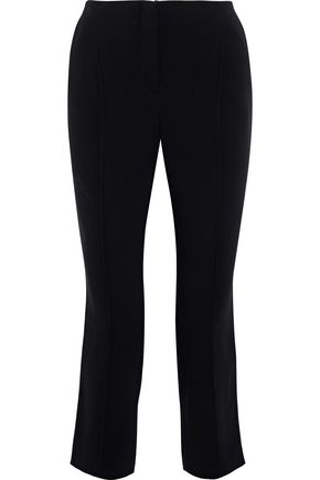 CINQ À SEPT Cropped striped crepe slim-leg pants