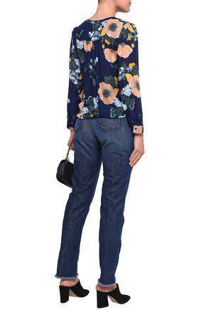 JOIE Josie frayed high-rise straight-leg jeans
