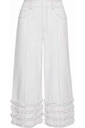 CINQ À SEPT Carmelina ruffle-trimmed cotton-twill culottes