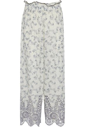 GANNI Emile printed broderie anglaise wide-leg pants