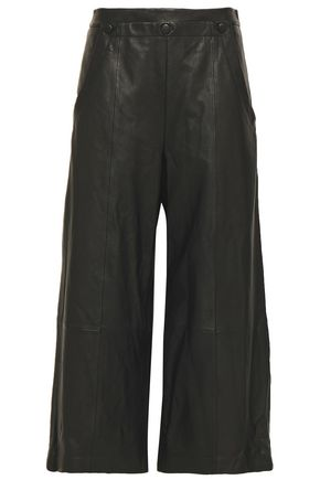 GREY JASON WU Cropped leather wide-leg pants