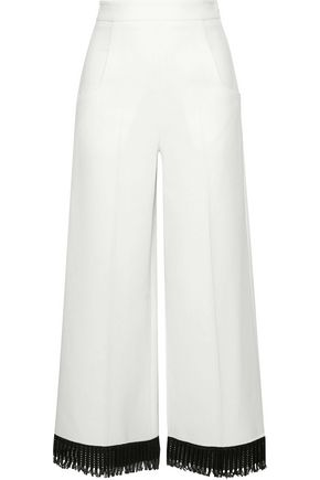 ROLAND MOURET Ward lattice-trimmed wool-crepe wide-leg pants