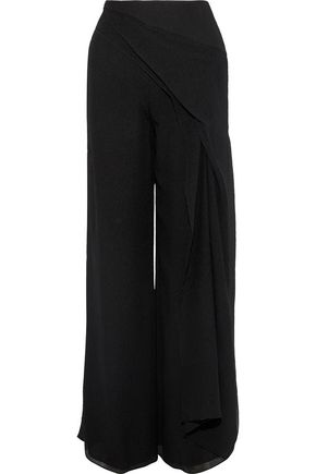 ROLAND MOURET Farnley draped silk crepe de chine wide-leg pants