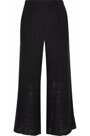 ROLAND MOURET Broadgate pleated open-knit cotton culottes