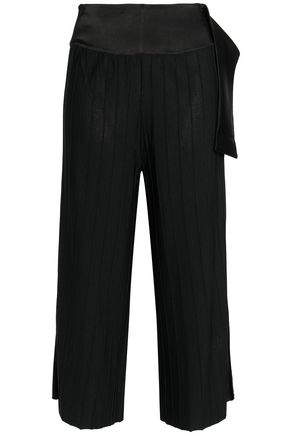 HOUSE OF DAGMAR Ninni cropped satin-trimmed ribbed-knit wide-leg pants