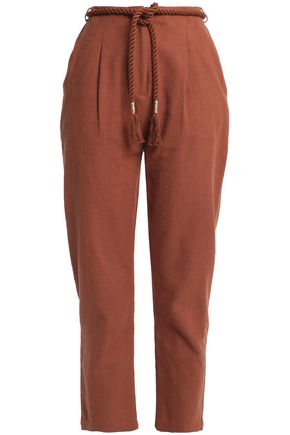 ANTIK BATIK Belted cotton-canvas tapered pants