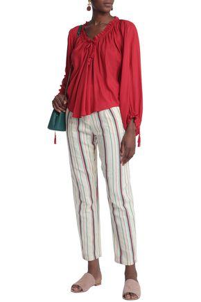 ANTIK BATIK Antonio striped cotton-canvas tapered pants