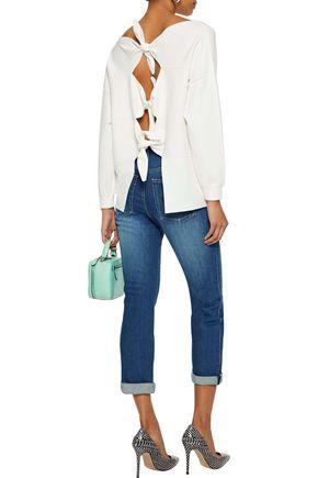ALICE + OLIVIA Cropped printed high-rise slim-leg jeans