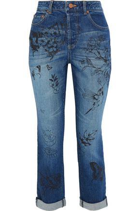 ALICE + OLIVIA JEANS Cropped printed high-rise slim-leg jeans
