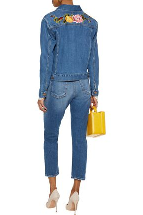 ALICE + OLIVIA Embroidered distressed high-rise slim-leg jeans