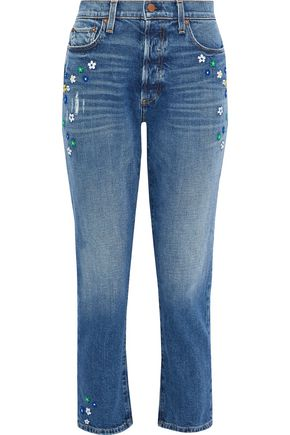 AO.LA by ALICE + OLIVIA Embroidered distressed high-rise slim-leg jeans