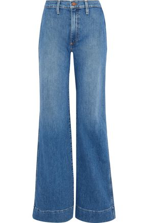 ALICE + OLIVIA Gorgeous embroidered high-rise wide-leg jeans