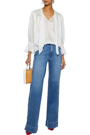 c57a87c765af ALICE + OLIVIA Gorgeous embroidered high-rise wide-leg jeans