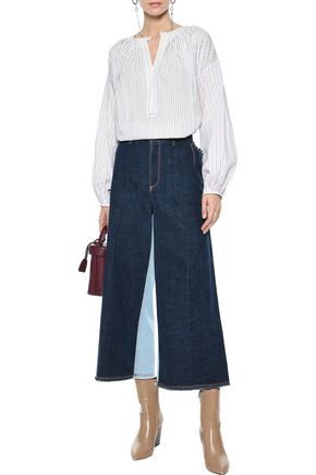 SONIA RYKIEL Cropped two-tone mid-rise wide-leg jeans
