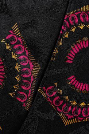 A.L.C. Cropped printed silk-jacquard flared pants