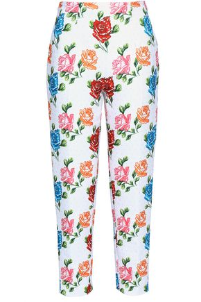 EMILIA WICKSTEAD Printed cloqué slim-leg pants