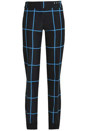 PACO RABANNE Checked wool and silk-blend straight-leg pants