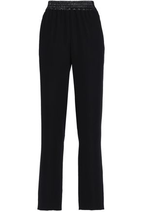 PACO RABANNE Shirred faux leather-trimmed crepe straight-leg pants