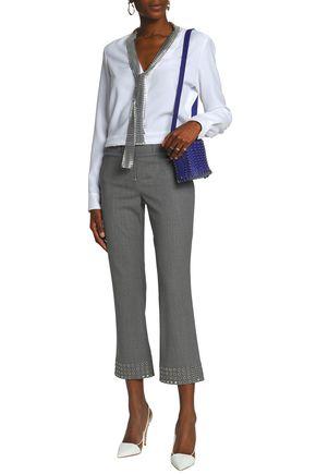 PACO RABANNE Eyelet-embellished wool-blend bootcut pants