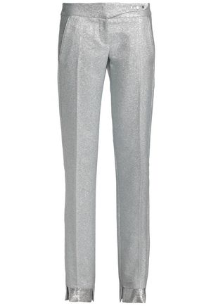 PACO RABANNE Metallic silk-blend slim-leg pants