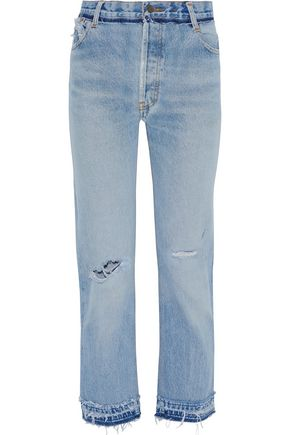 RE/DONE by LEVI'S Cropped frayed high-rise straight-leg jeans