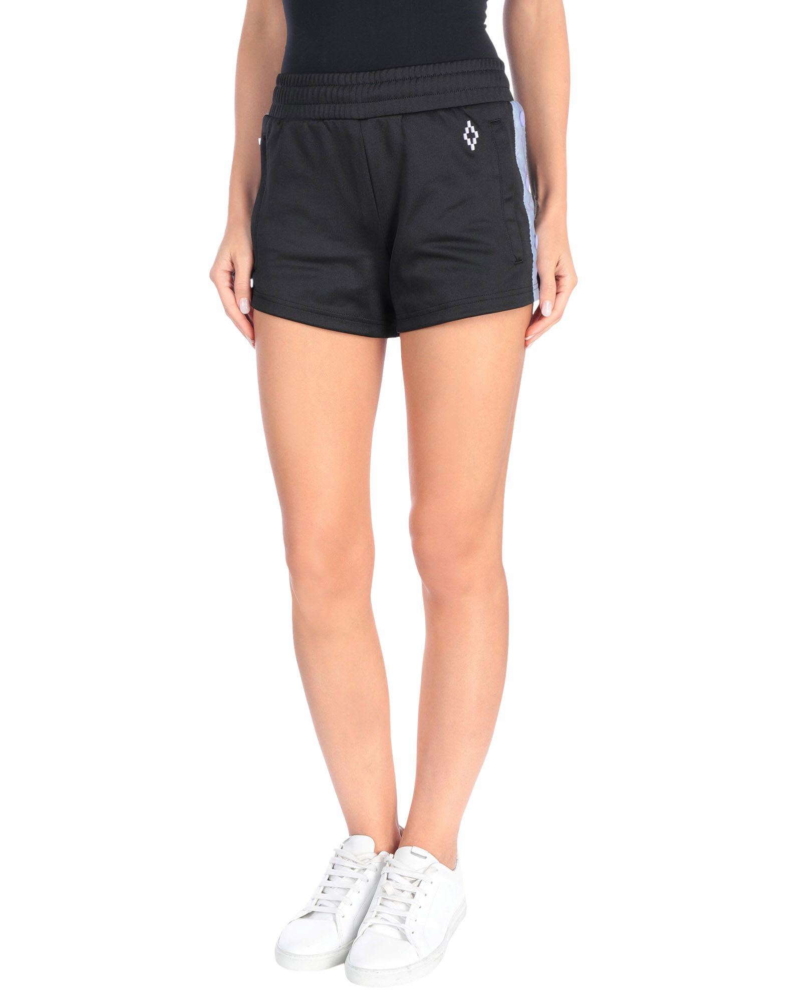 MARCELO BURLON Shorts. jersey, logo, side seam stripes, solid color, multipockets, drawstring closure, mid rise, regular fit, tapered leg, sporty. 55% Polyester, 45% Cotton