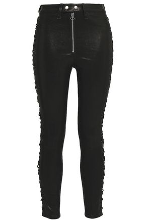 RAG & BONE Cropped lace-up leather skinny pants