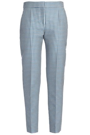 PACO RABANNE Gingham wool-blend crepe tapered pants