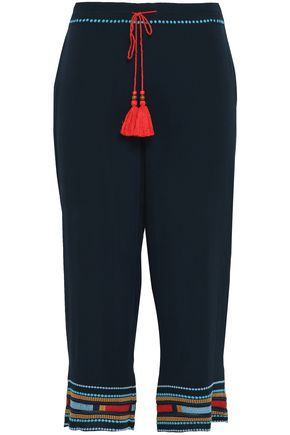 TALITHA Cropped embroidered silk-crepe straight-leg pants