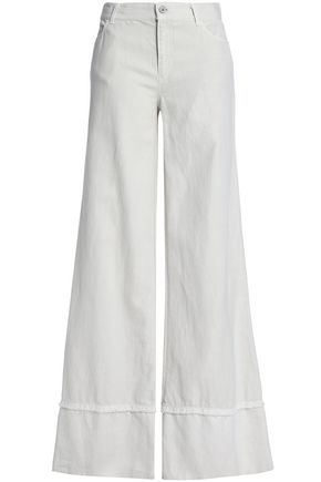 NILI LOTAN Frayed cotton and linen-blend twill wide-leg pants