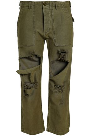 R13 Distressed cotton straight-leg pants